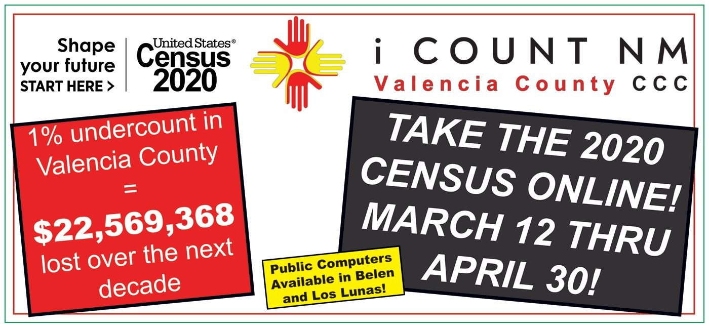 Take the 2020 Census online! March 12 thru April 30 https://2020census.gov/